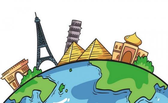 手绘涂鸦风格地球世界各地旅游地标建筑图片免抠素材