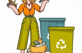 女孩和垃圾桶垃圾分类手抄报手绘插画png图片素材