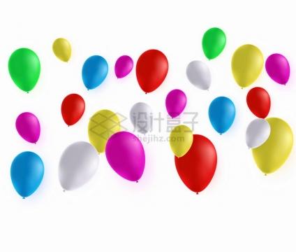 飘飞的绿色黄色红色蓝色白色等彩色气球png图片免抠矢量素材