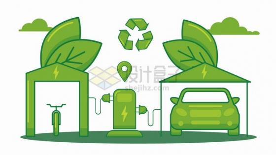 绿色环保能源电动汽车和出行方式png图片素材