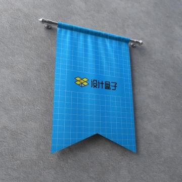 墙上挂着的蓝色旗帜样机模板图片