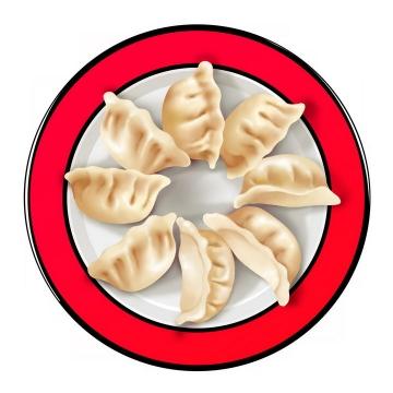 一盘摆成一圈的饺子水饺png图片免抠素材