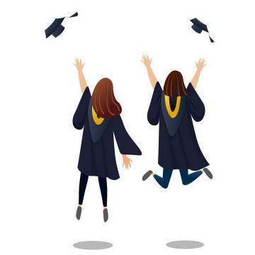 手绘风格毕业季扔学士帽的女大学生毕业生图片免抠素材