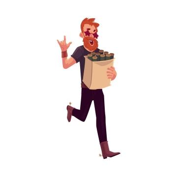 插画风格抱着纸袋子的男人图片免抠矢量图素材