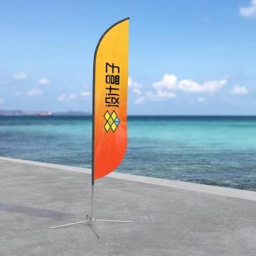 海边的刀旗羽毛形旗帜样机模板图片