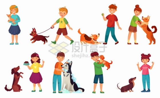 和狗狗一起玩耍洗澡遛狗的卡通孩子png图片素材