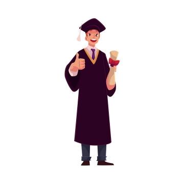 插画风格竖着大拇指大学毕业的学生图片免抠矢量图素材