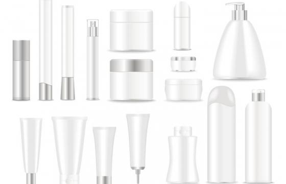 各种空白包装的化妆水洗面奶洗发水等化妆品png图片免抠矢量素材