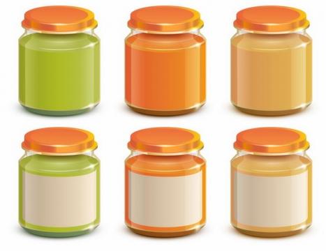 6个玻璃罐头中的果酱酱汁美食png图片免抠eps矢量素材