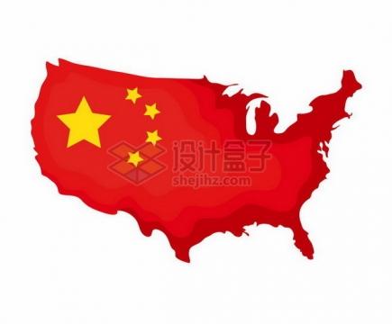 覆盖了中国国旗五星红旗图案的美国地图png图片免抠矢量素材