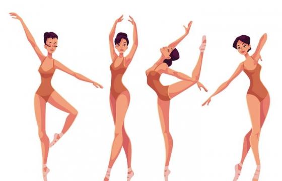 插画风格正在跳芭蕾舞的年轻女孩图片免抠矢量图素材