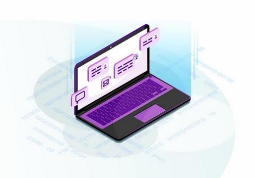 2.5D风格笔记本电脑屏幕上显示的信件联系人等信息png图片免抠矢量素材
