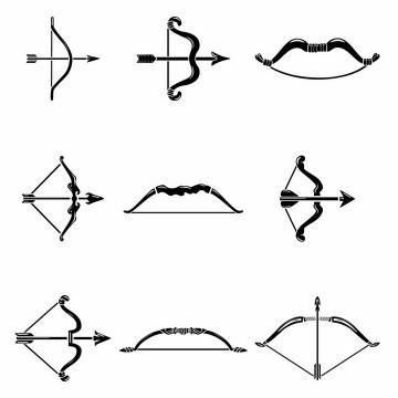 9款黑白色风格的弓箭冷兵器武器png图片免抠矢量素材