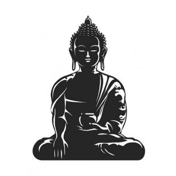 白色线条的佛教释迦摩尼佛祖画像png图片素材