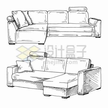 手绘素描风格两套客厅组合沙发png图片免抠矢量素材