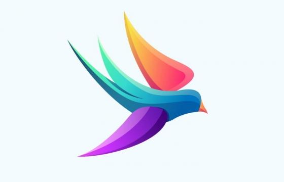 彩色飞行的燕子鸟儿LOGO图片免抠矢量图