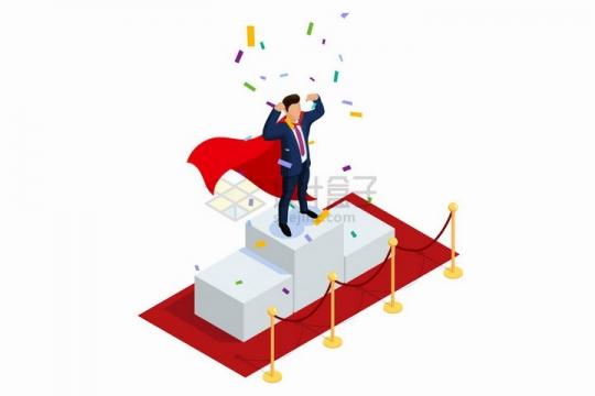 2.5D风格商务人士站在领奖台上销售冠军png图片免抠矢量素材