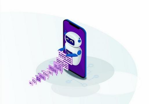 2.5D风格智能手机屏幕上显示的机器人和收到的各种信息png图片免抠矢量素材