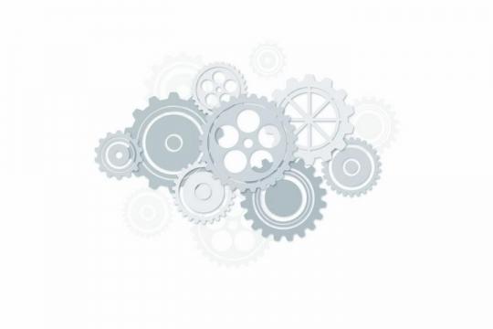 各种灰色齿轮组成的联动机械装置png图片免抠矢量素材