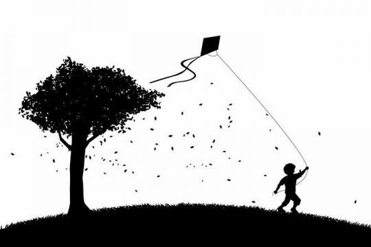 大树下草地上正在放风筝的小男孩剪影png图片免抠eps矢量素材