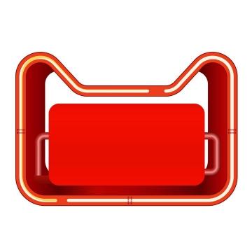 C4D风格红色镂空天猫猫头文本框标题框图片免抠矢量素材