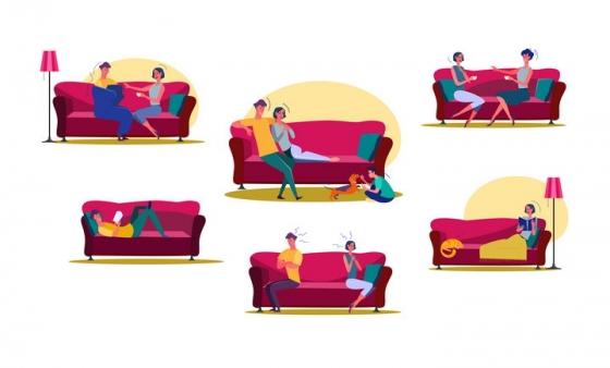 6款扁平插画风格坐在沙发上的情侣一家人图片免抠矢量素材