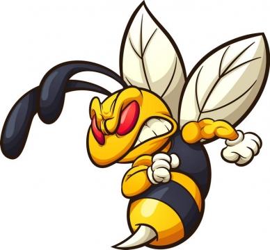 愤怒的卡通漫画蜜蜂马蜂免抠矢量图片素材