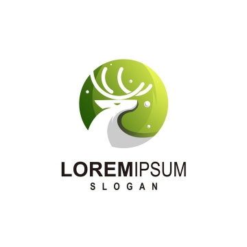 圆形绿色背景麋鹿logo设计方案图片免抠矢量图素材