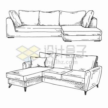 两套手绘素描风格客厅沙发png图片免抠矢量素材