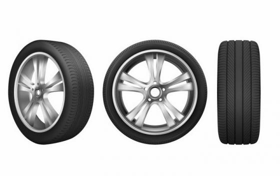 银色金属轮毂三种不同角度的汽车轮胎png图片免抠矢量素材