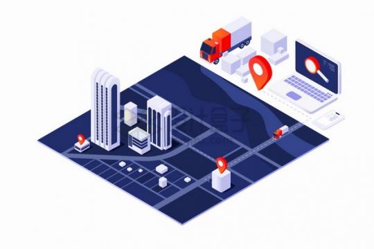 3D城市地图和快递物流送货上门服务路线png图片素材