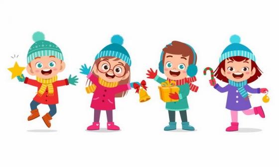 冬天身着冬装快乐的孩子们png图片免抠eps矢量素材