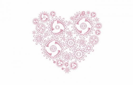 红色线条齿轮组成的红心心形图案png图片免抠矢量素材