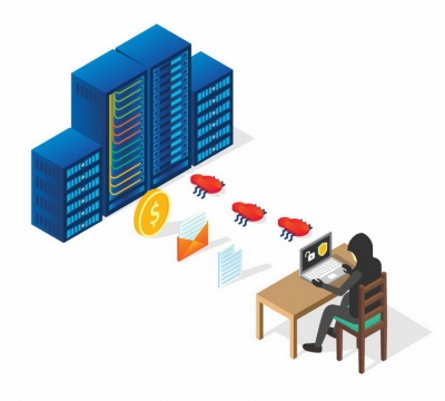 2.5D风格黑客正在向服务器植入象征BUG的木马程序盗取个人隐私png图片免抠矢量素材