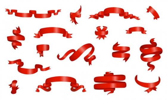 各种红色飘带彩带装饰图片免抠矢量图素材