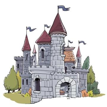 手绘插画风格西方城堡建筑图片免抠矢量图