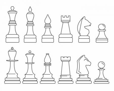 两套黑色线条风格国际象棋棋子png图片免抠矢量素材