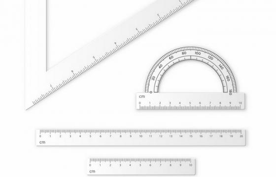 三角尺量角器和不同长度的直尺学生学习用品png图片免抠eps矢量素材