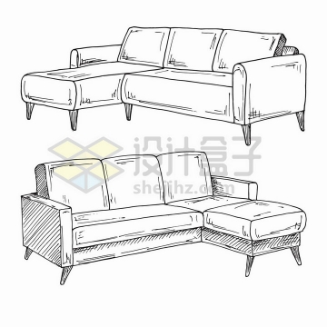 手绘素描风格客厅沙发家具png图片免抠矢量素材