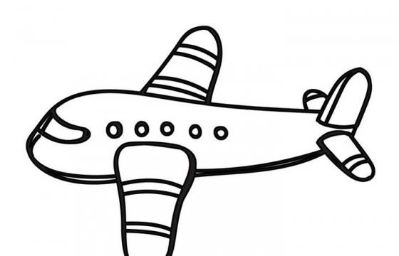 手绘线条素描风格小飞机客机简笔画图片免抠素材