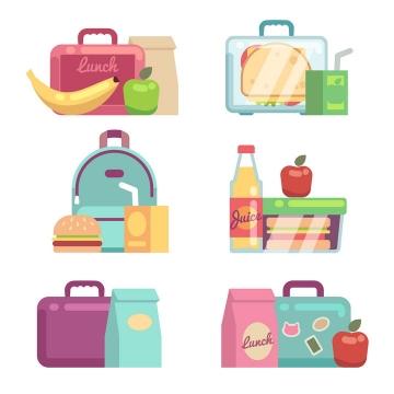 6款扁平化风格旅行美食外卖免抠矢量图片素材