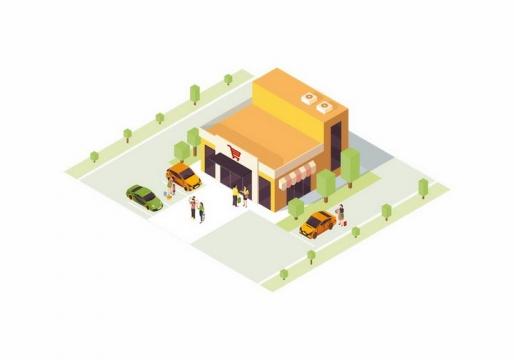 2.5D风格小型超市和周围的停车场png图片免抠矢量素材