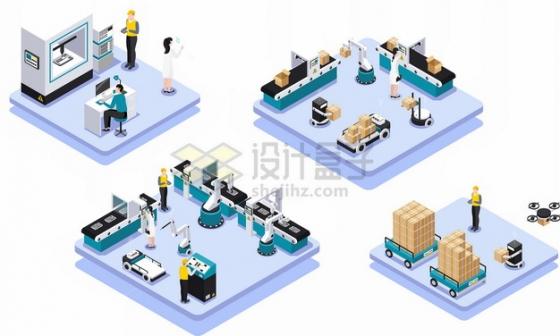 2.5D风格3D打印机技术机械手臂流水线物流快递行业png图片素材