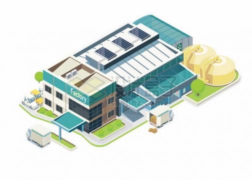 2.5D风格工厂厂房建筑102682png图片素材