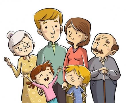 手绘卡通插画风格开心的一家人图片免抠矢量图