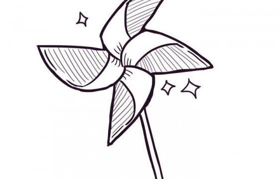 手绘线条素描风格纸风车简笔画图片免抠素材