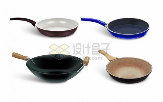 4款平底锅炒锅等厨房烹饪工具png图片素材