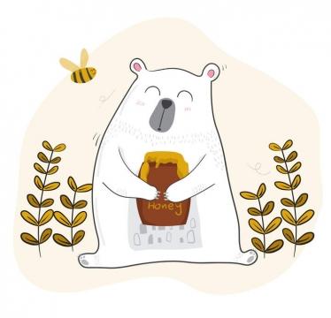 卡通插画风格抱着蜂蜜罐的大白熊免抠矢量图片素材