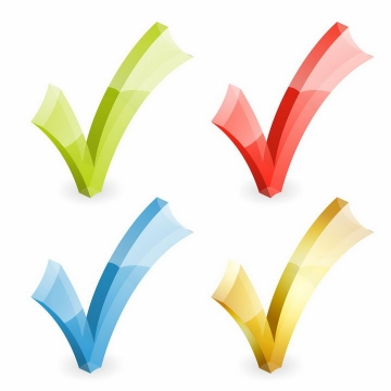 绿色红色蓝色和黄色的立体对号png图片免抠矢量素材