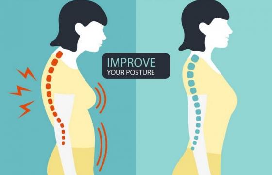 扁平化风格正确站姿和错误站姿对脊柱的伤害对比图图片免抠矢量素材